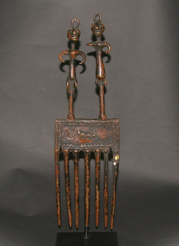 Bronze African Comb Antique Hair Pick Benin Male and Female Figurines