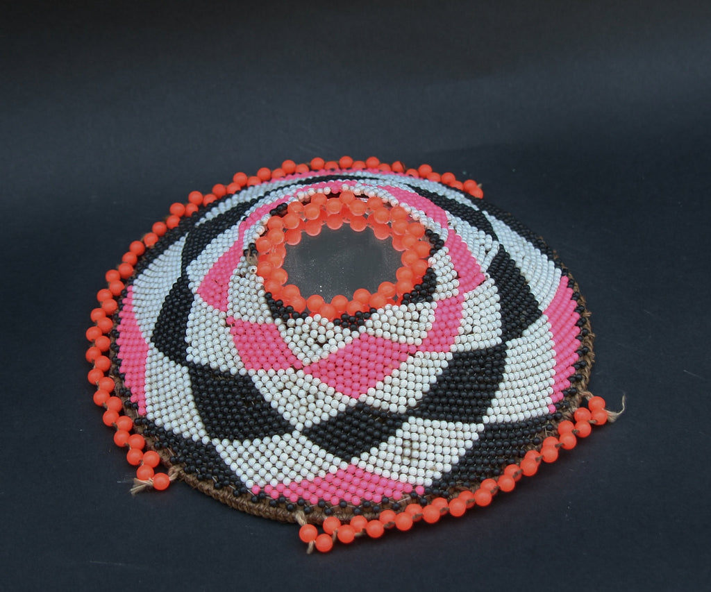 Zulu Imbenge Beer Pot Cover Beads and Mirror - Cultures International From Africa To Your Home