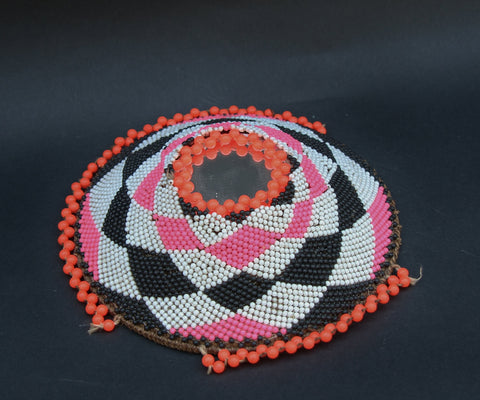 Zulu Imbenge Beer Pot Cover Beads and Mirror