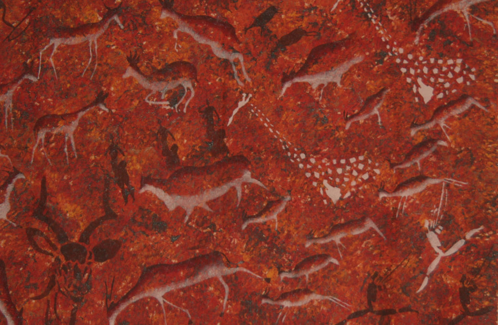 "African Cave Art Canvas Fabric Original Painting 39"" W X 30"" H"
