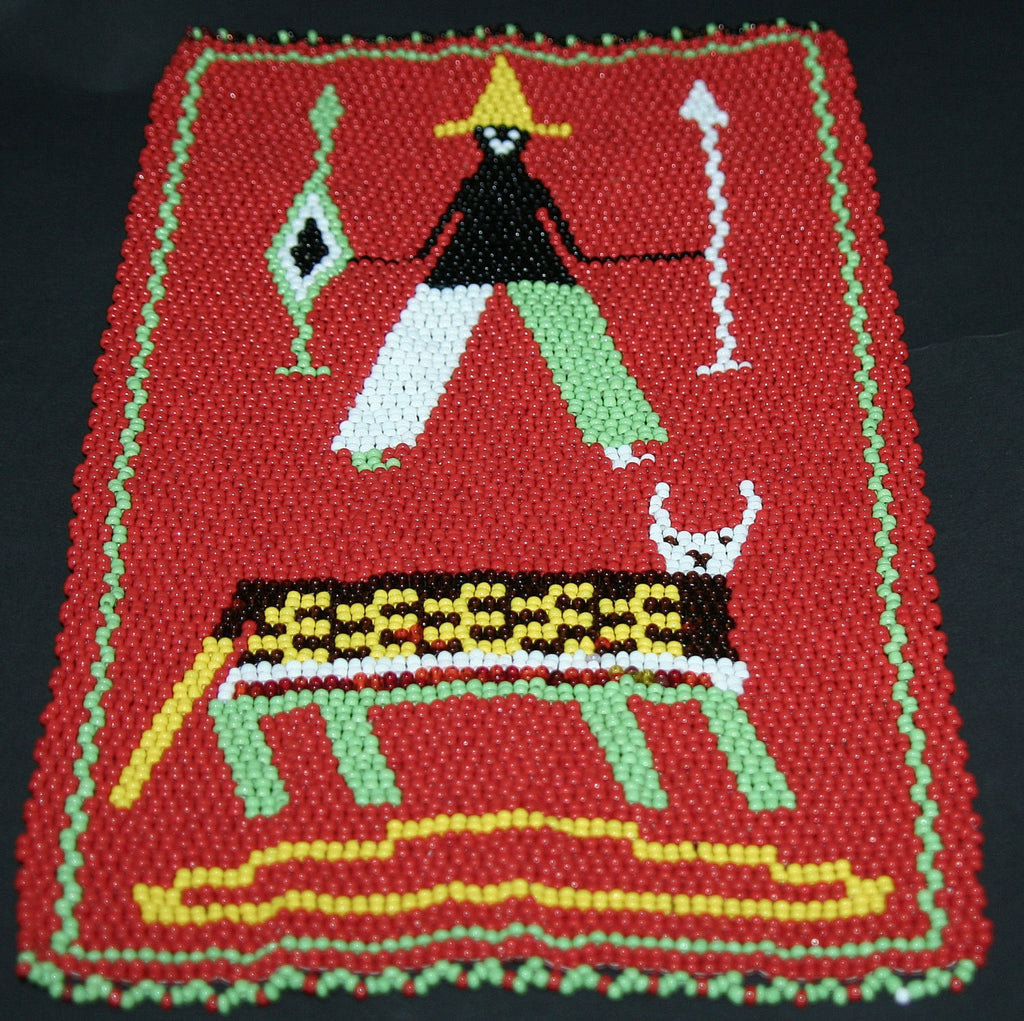 "African Beaded Picture Mat Red Tribal Hunter Handwoven 11.5"" X 7.25"" South Africa - Cultures International From Africa To Your Home"