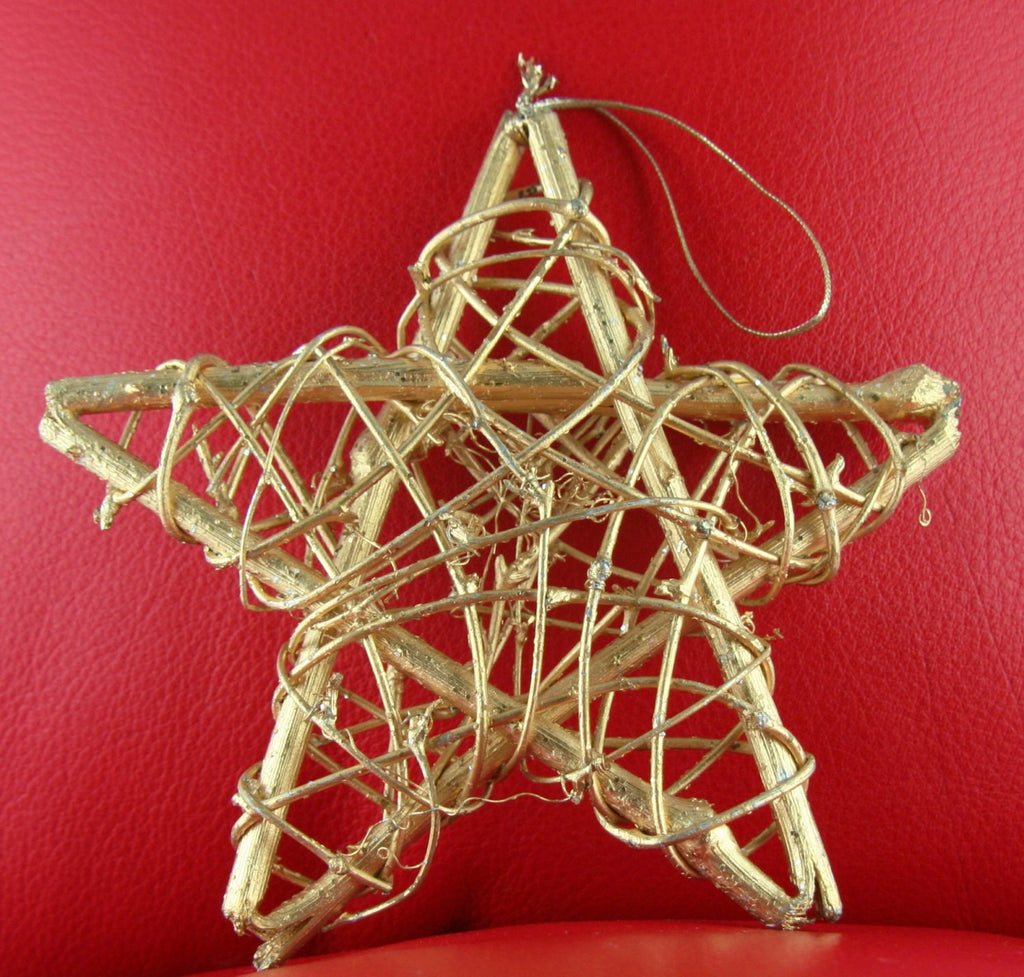 "African Christmas Star Gold Twigs With Hanger 6"" X 6"" - culturesinternational"