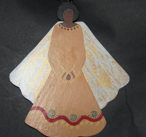 "African Angel Ornament Carved Wood Zulu Tribal Dress 11""H X 8.25"" W - culturesinternational  - 1"