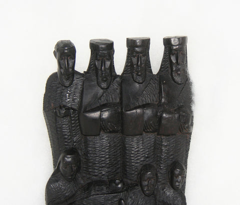 African Nativity Scene Sculpture Ebony Wood  Vintage Handcrafted Tanzania - culturesinternational  - 1