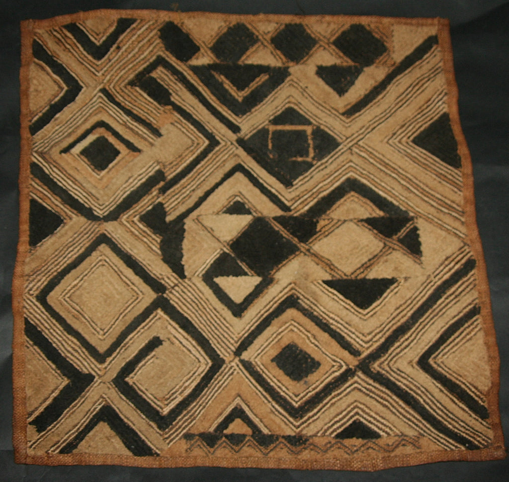 "African Kuba Shoowa Cloth 12 -  Vintage Handwoven in the Congo DR 21"" X 20"" - Cultures International From Africa To Your Home"