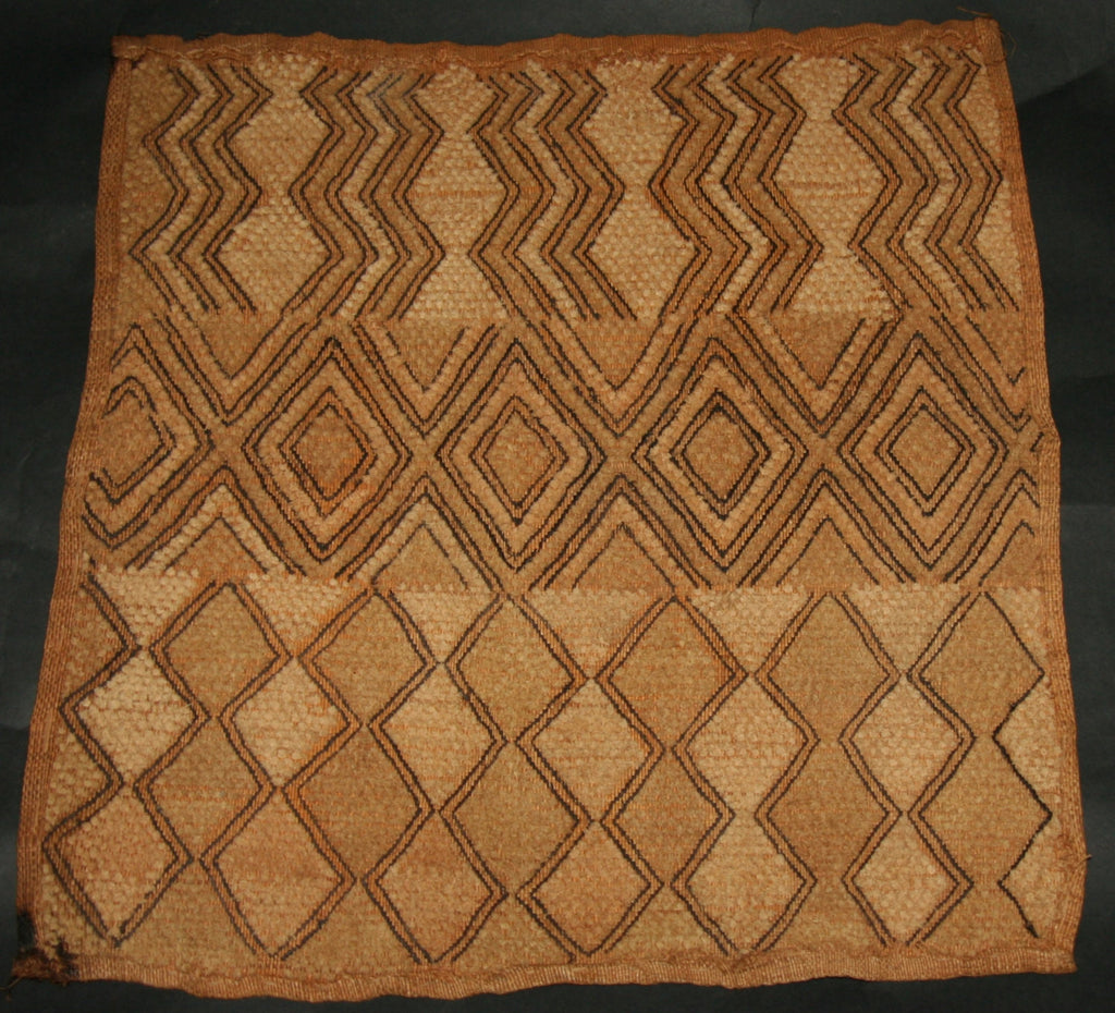 "African Kuba Shoowa Cloth 5 -  Vintage Handwoven in the Congo DR 18"" X 20"" - Cultures International From Africa To Your Home"