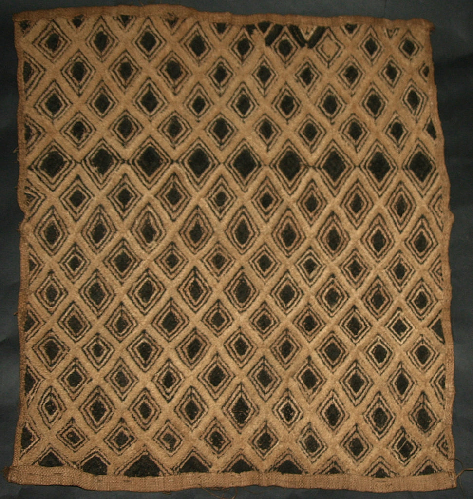 "African Kuba Shoowa Cloth 14 -  Vintage Handwoven in the Congo DR 21"" X 20"" - Cultures International From Africa To Your Home"