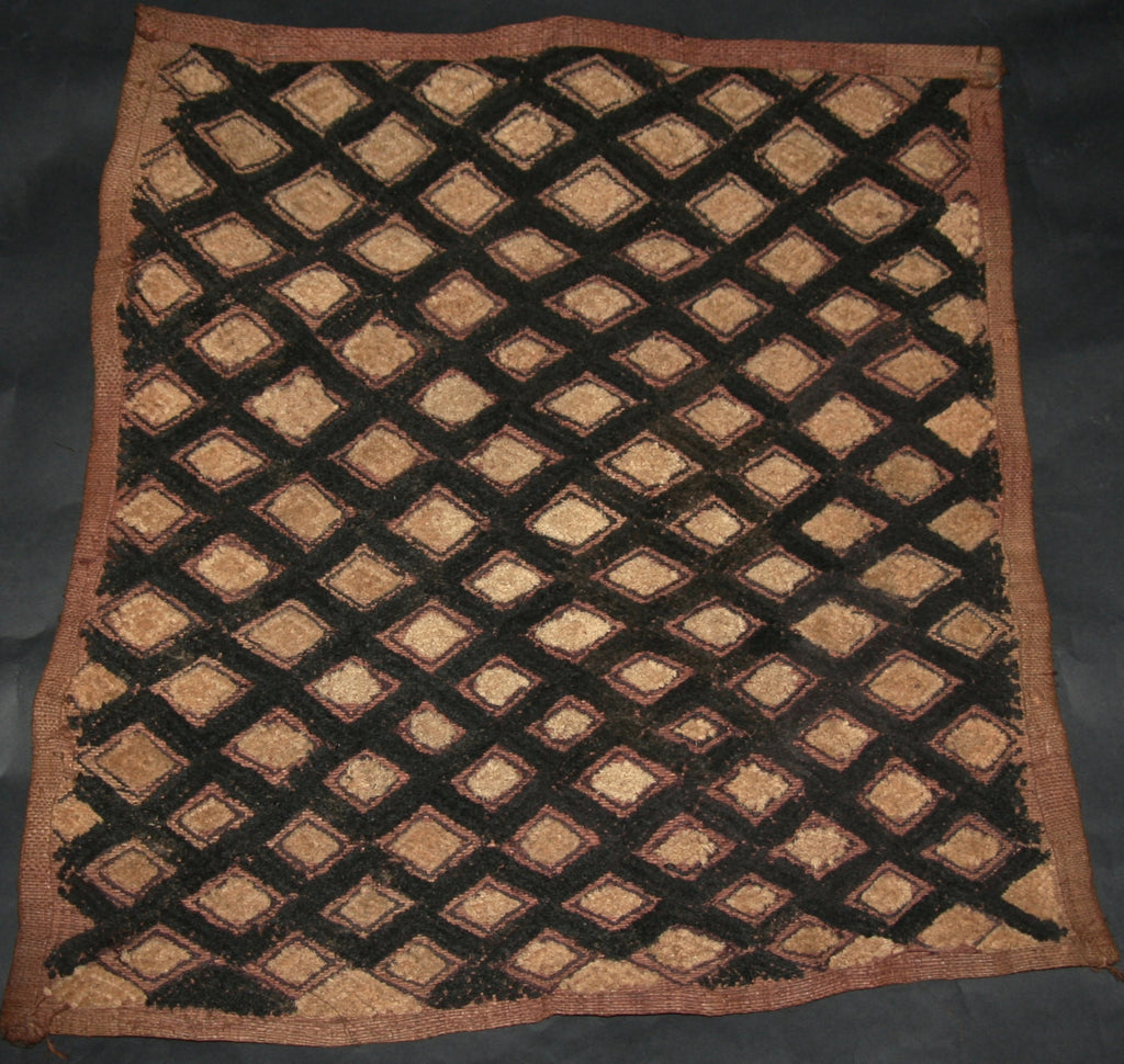 "African Kuba Shoowa Cloth 17 -  Vintage Handwoven in the Congo DR 18"" X 20"""