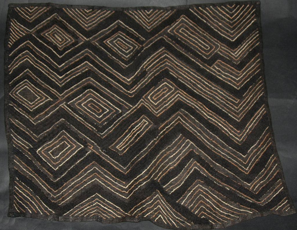 "African Kuba Shoowa Isesele Cloth 02 -  Vintage Handwoven in the Congo DR 28"" X 27"" - Cultures International From Africa To Your Home"