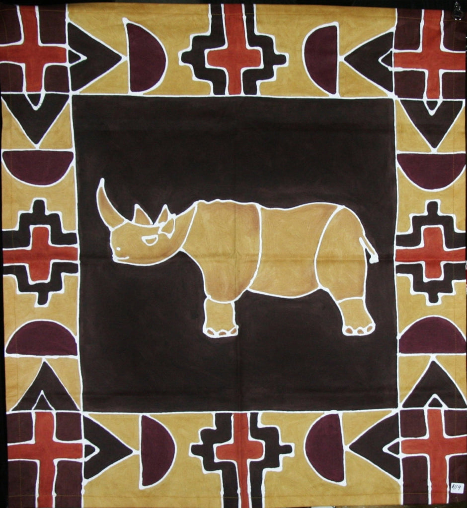 "Rhino African Table Overlay Wall Hanging Brown Gold Chocolate Wine Hand Painted - 29"" X 29"" - Cultures International From Africa To Your Home"