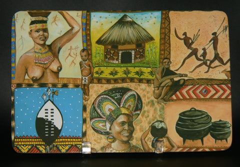 Place Mat Set African Painted Zulu Village Scenes MultiColor Set of 6