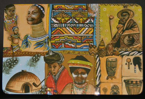 Place Mat African Painted Village Scenes Multi Color Set of 6