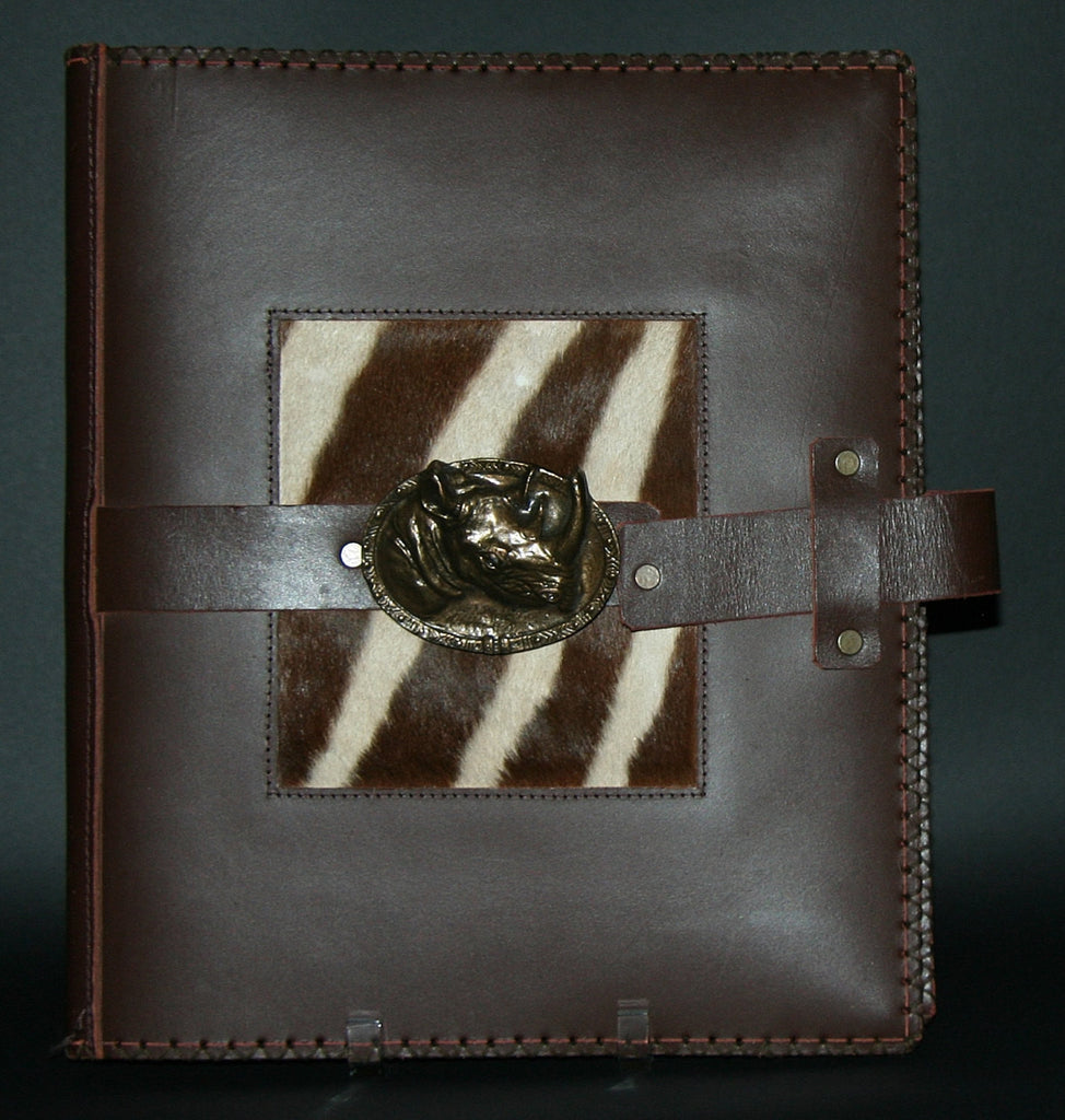 Leather Album Portfolio Cover Zebra Inlay Large Rhino Medallion Brown - Cultures International From Africa To Your Home