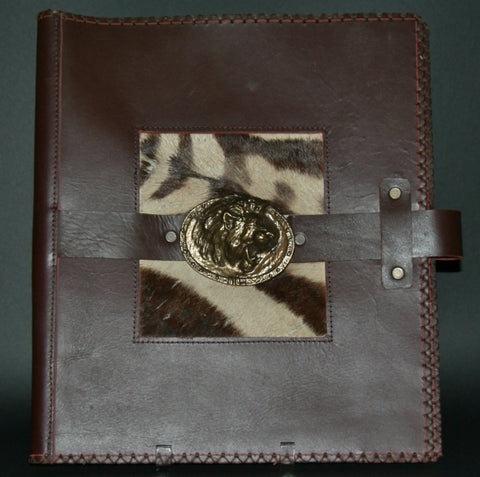 Leather Album Portfolio Cover Zebra Inlay Large Lion Medallion Brown - Cultures International From Africa To Your Home