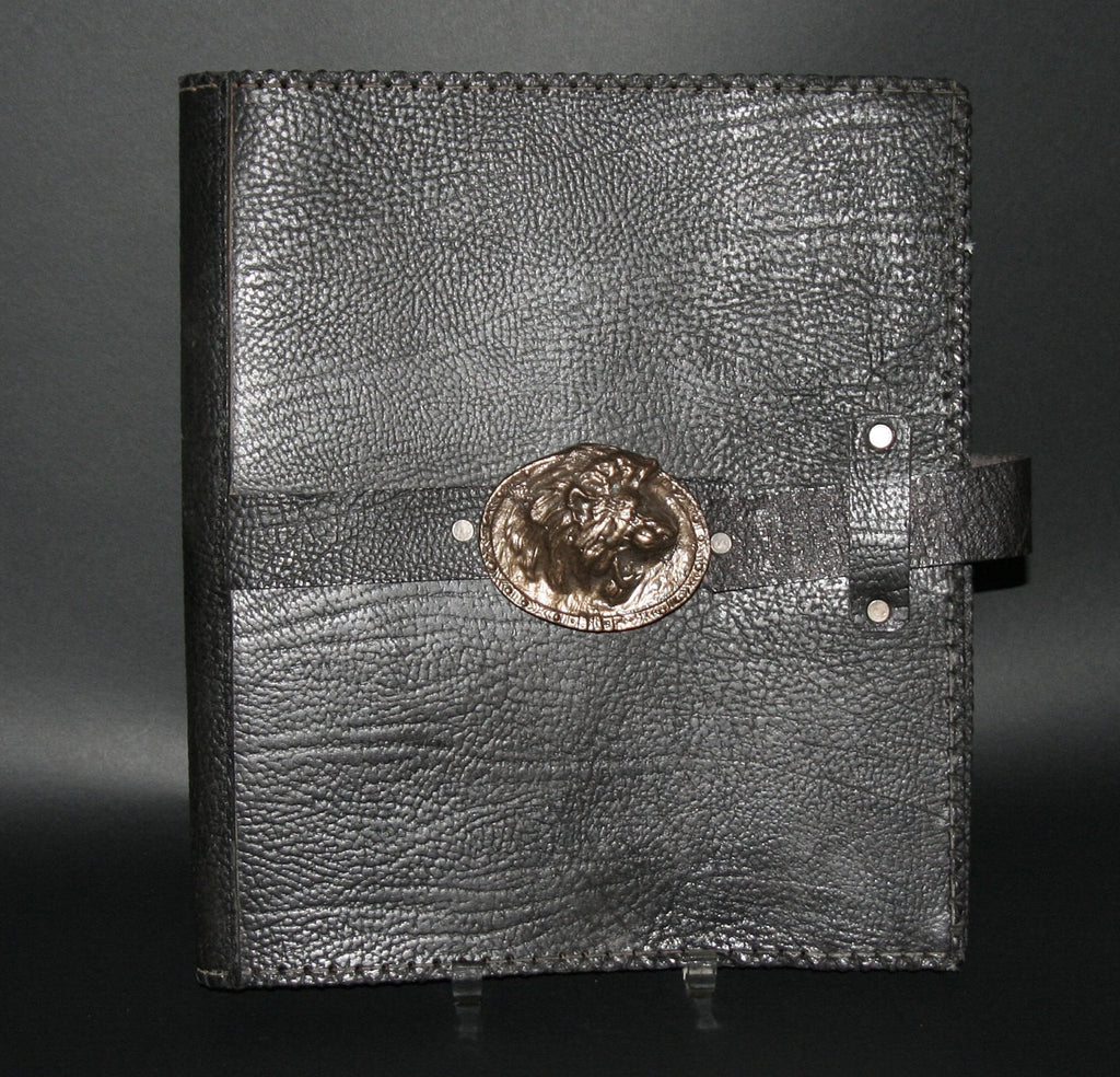 Leather Black Album Portfolio Cover Bronze Lion Medallion - Cultures International From Africa To Your Home