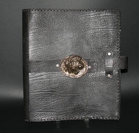 Leather Black Album Portfolio Cover Bronze Rhino Medallion - Cultures International From Africa To Your Home