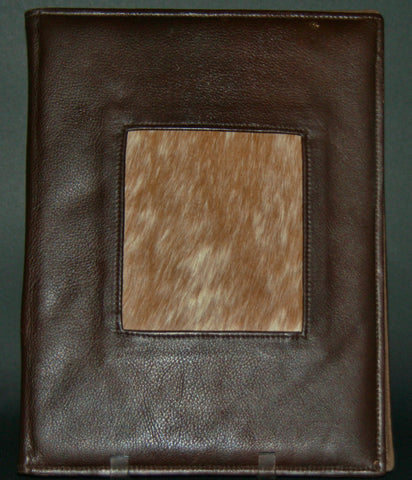 Leather Portfolio Brown With Nguni Hide Inlay - Cultures International From Africa To Your Home