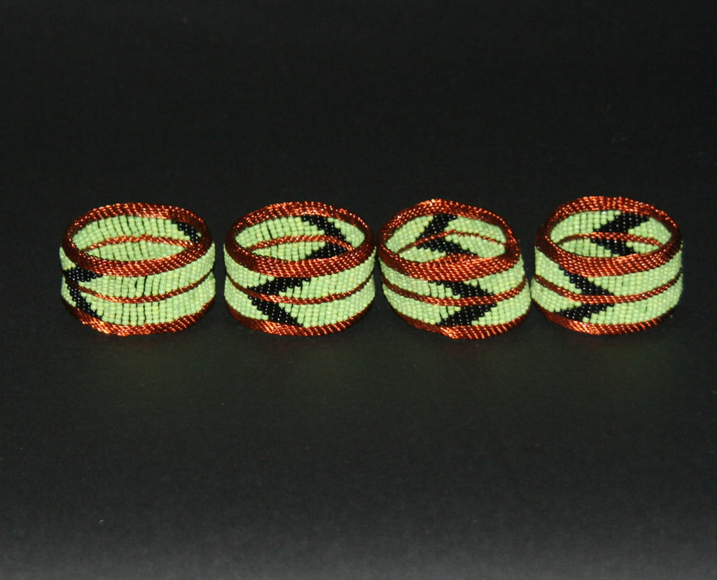 Napkins Rings Copper Wire Green Glass Beads Set of 4 - Cultures International From Africa To Your Home