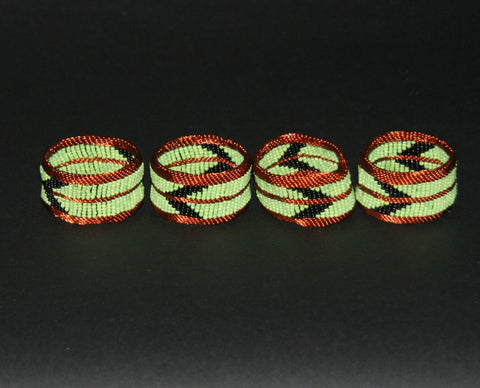 Napkins Rings Copper Wire Green Glass Beads Set of 4
