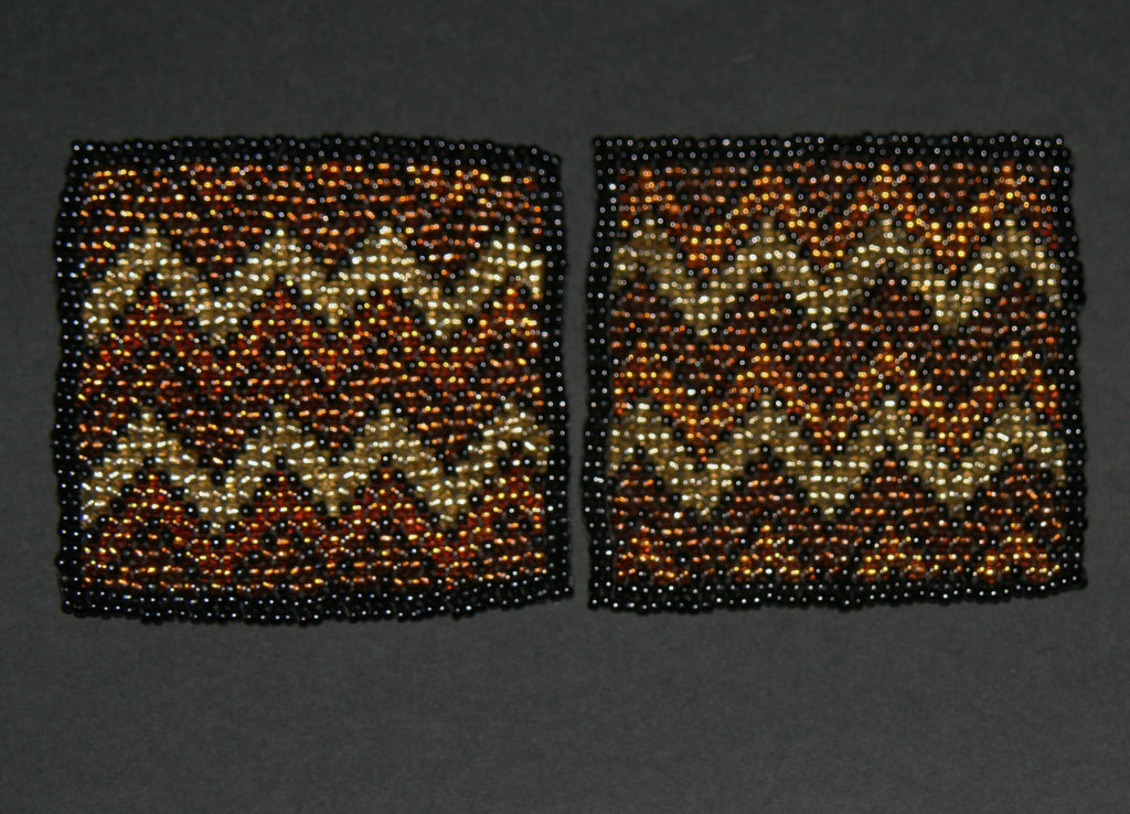 Beaded Coasters Handmade South Africa Set of 2 Zig Zag Tribal Pattern