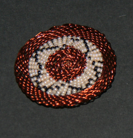 "Beaded Brooch Pin Copper Wire and Glass Beads White Black Handmade 2"" D"