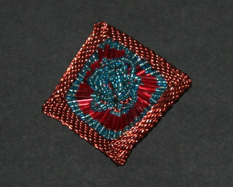 "Beaded Brooch Pin Copper Wire and Teal Red Glass Beads White Handmade 2.25"" X 2.75"" - Cultures International From Africa To Your Home"