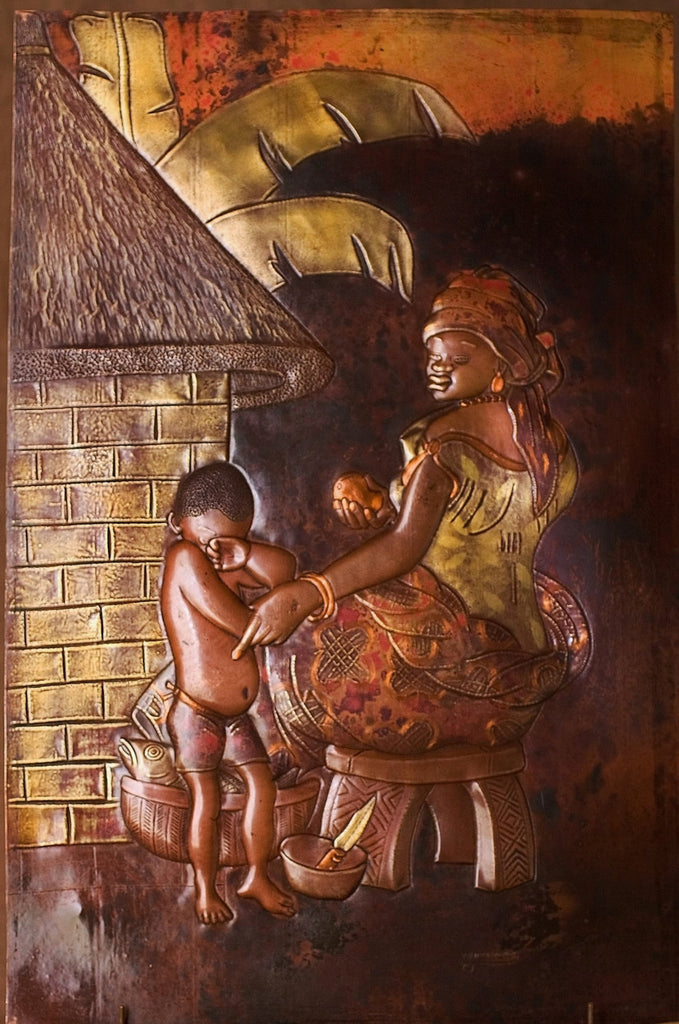 "African Copper Art Relief Tribal Mother & Son 15"" X 23"" - Cultures International From Africa To Your Home"