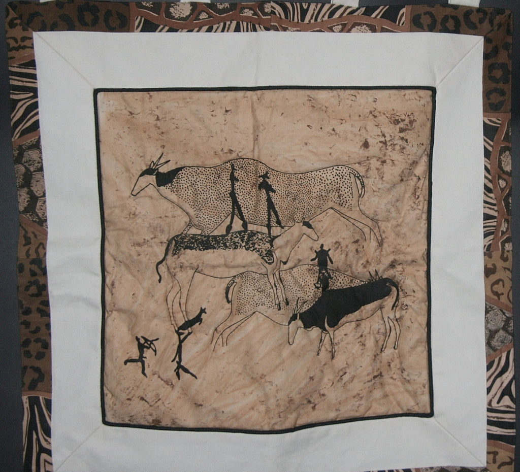 "Wall Hanging Cave Art Bushman 25"" X 29"" - Cultures International From Africa To Your Home"