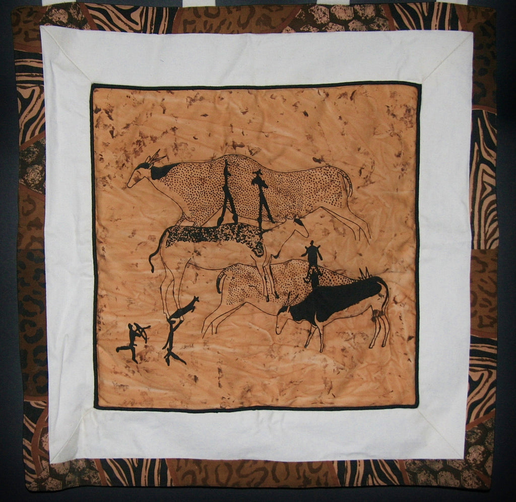 "Wall Hanging African Bushman Cave Art 25"" X 29"" - Cultures International From Africa To Your Home"