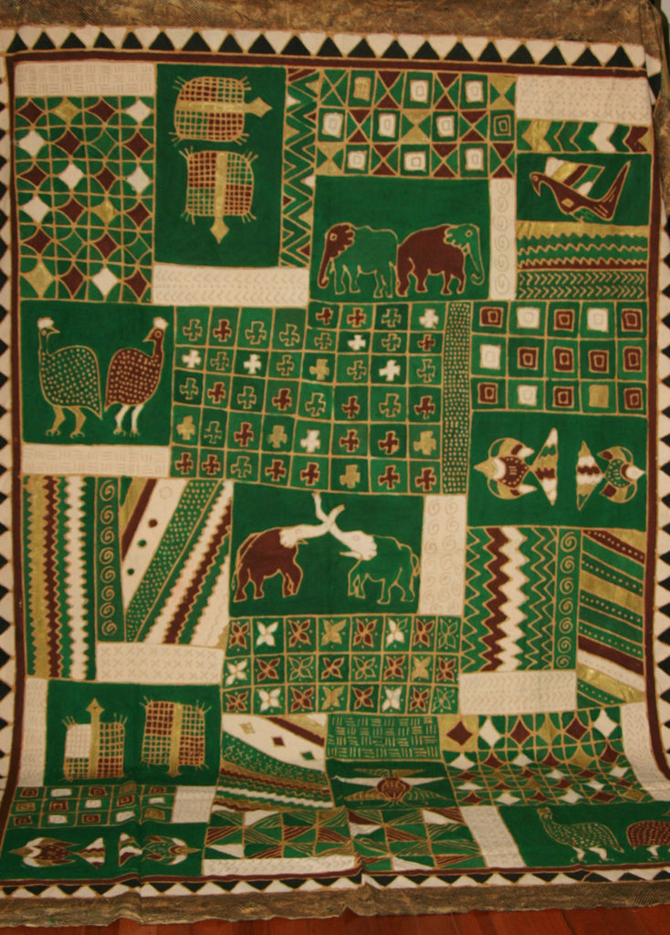 "African Batik Elephant, Turtle, Guinea Fowl, Tapestry/Fabric Green Cocoa Gold Cream Zimbabwe 84""W X 117""L - Cultures International From Africa To Your Home"