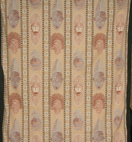 "African Masks Wall Hanging Fabric Desert Sand Gray Brown Screen Print Zimbabwe 60"" X 84"""