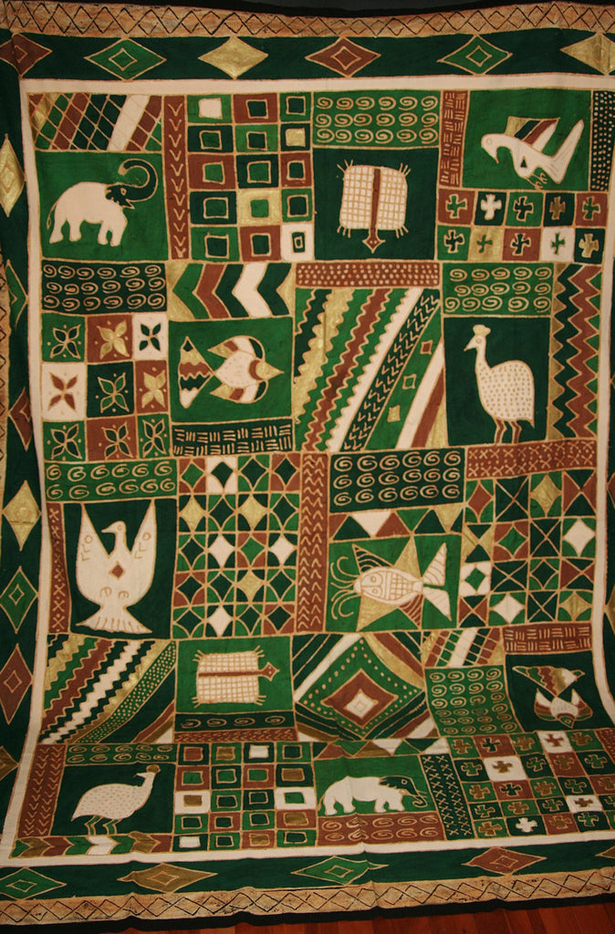 "African Batik Zimbabwe Tapestry/Fabric Green Cocoa Gold Cream 89""W X 120""L - Cultures International From Africa To Your Home"