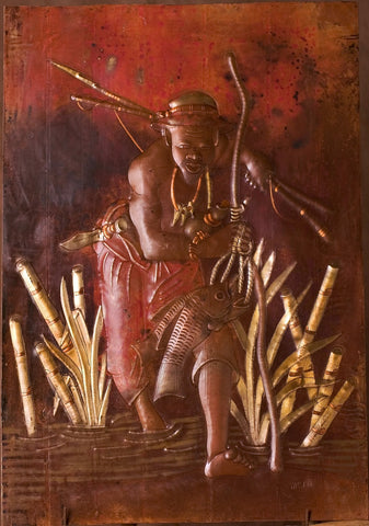 "African Copper Art Fisherman In the Reeds With His Catch - Congo 15.75"" X 22.75"""