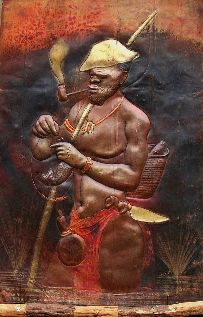 "African Copper Art Bearded Fisherman With Pipe  Congo  23.5"" X 15.5"" - Cultures International From Africa To Your Home"