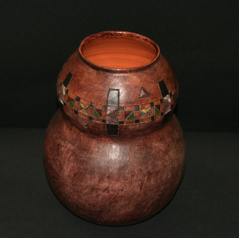 "African Pot with Ancient Tsonga Pedi Patterns Sculptured Double Calabash Shape 10"" H X 8"" W  24"" C"