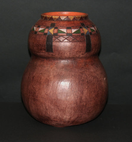 "African Pot with Ancient Tsonga Pedi Patterns Sculptured Double Calabash Shape 10.5"" H X 9"" W  26"" C"