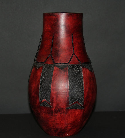 "African Clay Red Black Vase II Tribal Design Black Beads Handcrafted  13"" H X 9"" W"