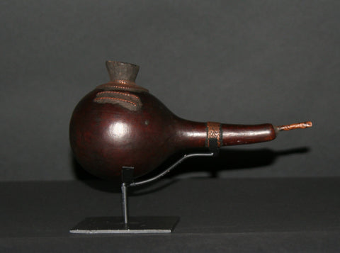African Luba Gourd Copper Smoking Pipe - Congo DRC