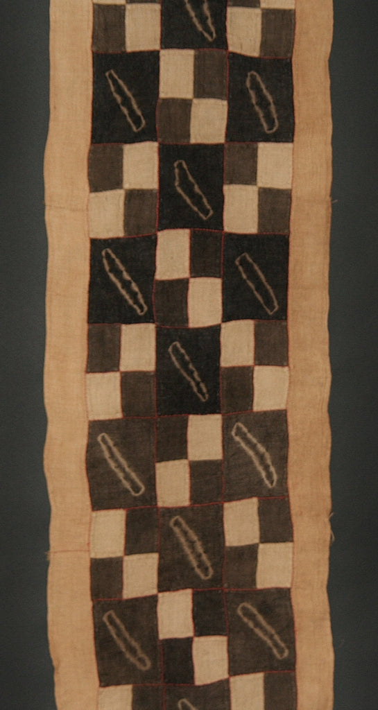 "Kuba Cloth African Woven Raffia Textile With Batik Panels Vintage  Charcoal, Black and Natural-Congo 20"" X 160"""