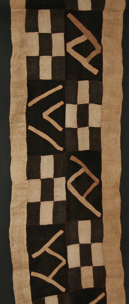 "Kuba Cloth African Woven Raffia Textile Vintage Charcoal, Black and Natural-Congo 24"" X 136"""