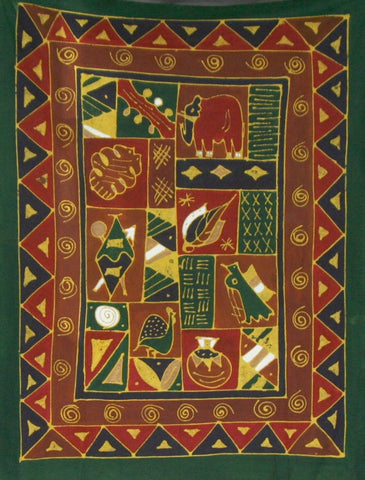 "African Batik Tapestry Fabric Red Brown Green Gold  58"" X 75"" Handmade Zimbabwe"