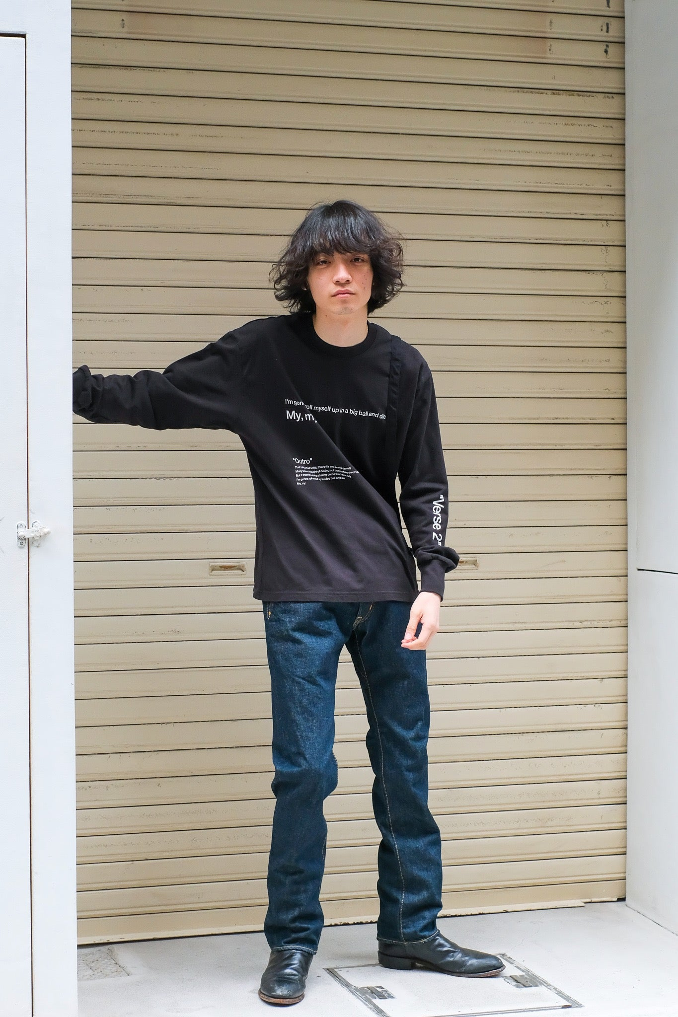 "SOEの21ssの""That's Life"" L/S TEE with Bagの着用画像"