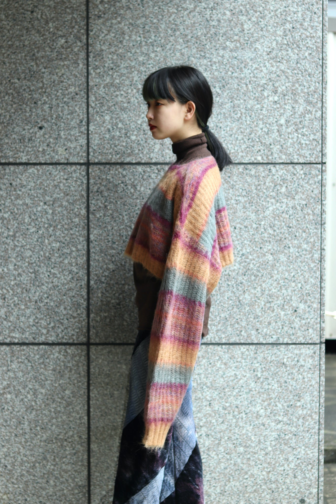 PERVERZE 21AW STRIPE MOHAIR WIDE TOP AND SCARF