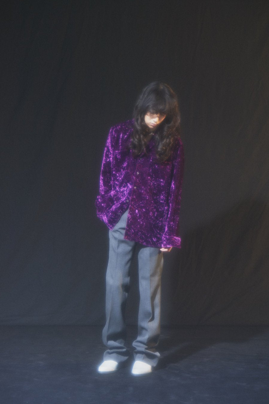 【20%OFF】LITTLEBIG  Velour Open Collar SH BL(BLACK or GRAY or PURPLE)