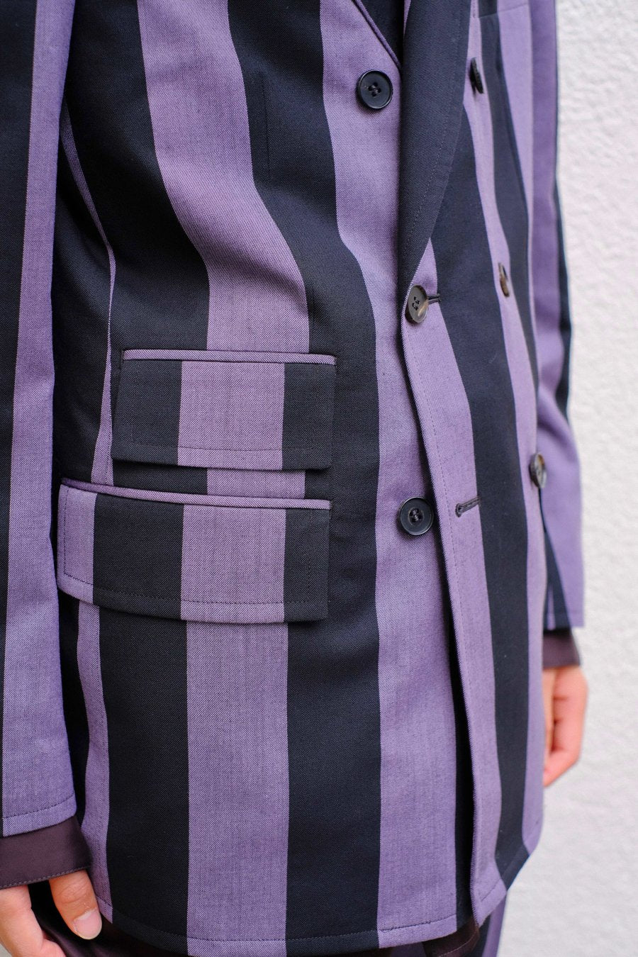 【20%OFF】LITTLEBIG  Stripe 6B Double Breasted Jacket( Purple Stripe )