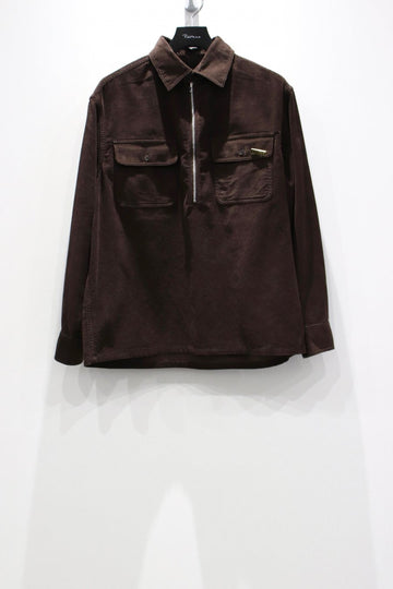 【20%OFF】VICTORIA  1/4 ZIP CORDUROY PULLOVER SHIRT-CHOCOLATE