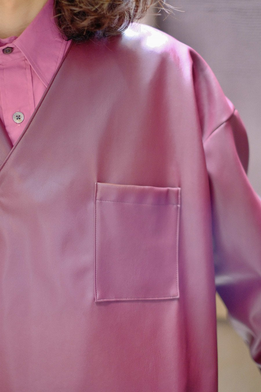 SYU.HOMME/FEMM  Nu samue shirts jkt type Eco leather to Sdgs(Wine)