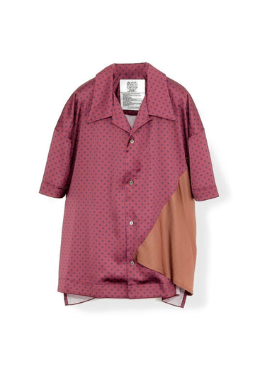 elephant TRIBAL fabrics  Out of alignment Resort shirt(BORDEAUX)
