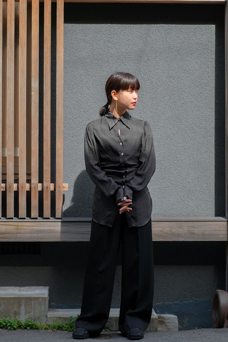 FETICO  Gathered Satin Shirt (Black)