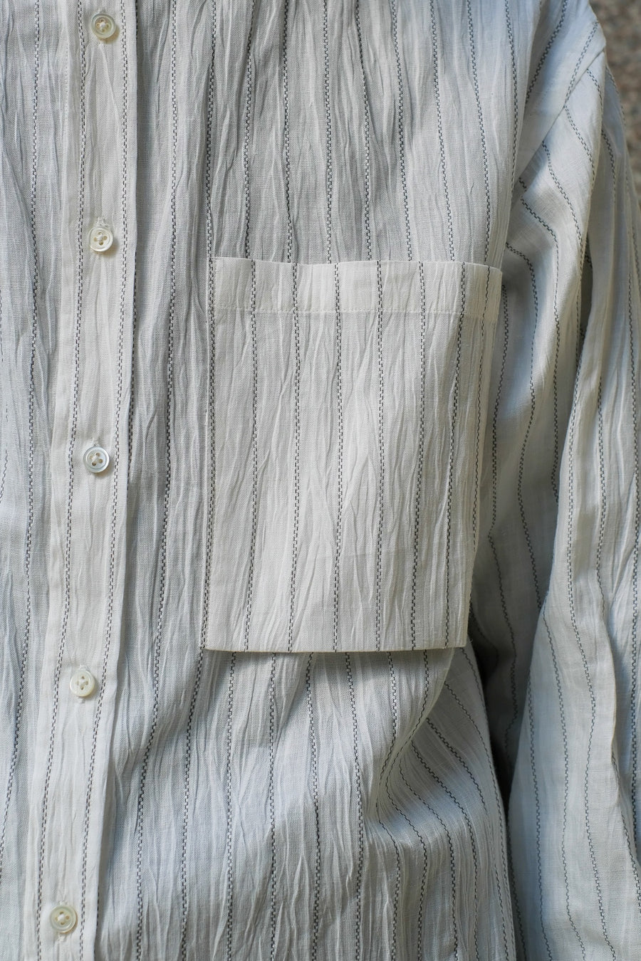 JOHN MASON SMITH  STRIPE BANDED COLLOR SHIRTS(WHITE)